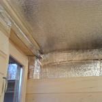 Монтаж пароизоляции на потолок бани